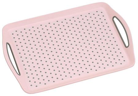 Tablett mit Anti-Rutsch Noppen, rosa PP/TPE, 45,5x32x4,5cm, mit Griffen