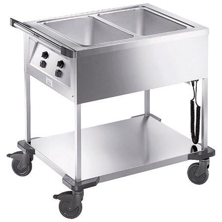Speisenausgabewagen SAW 2, Edelstahl, Blanco beheizbar, 2 Einzelbecken für GN 1/1-200mm,