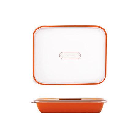 Frischhalte-/Servierbox orange 1,5L, PP, Microban mit transparentem Deckel, 25,5 x 21 x H 5,5cm