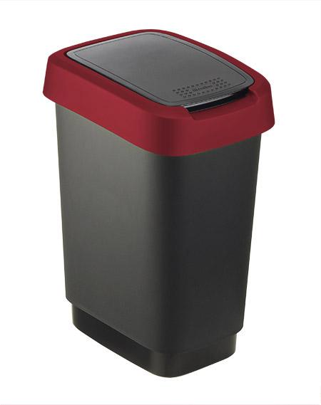 Schwingdeckeleimer Twist, 10L, schwarz/rubinrot rotho, Kunststoff,